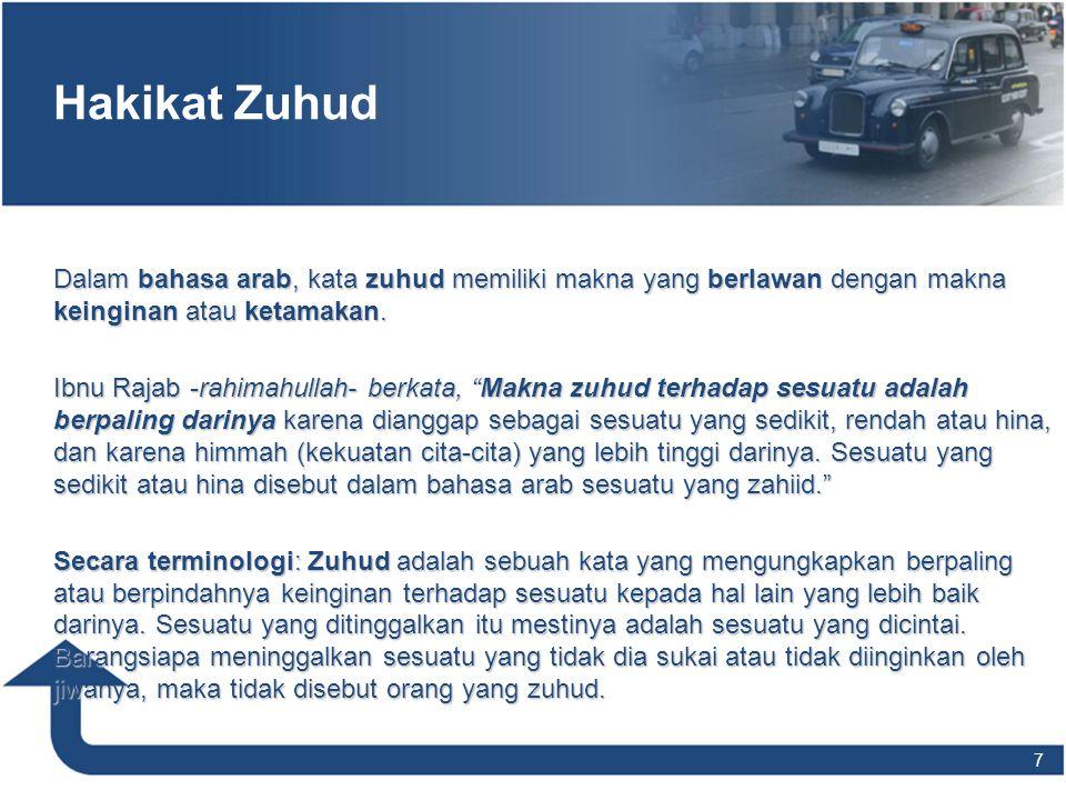 """Hakikat Zuhud Dalam bahasa arab, kata zuhud memiliki makna yang berlawan dengan makna keinginan atau ketamakan. Ibnu Rajab -rahimahullah- berkata, """"Ma"""