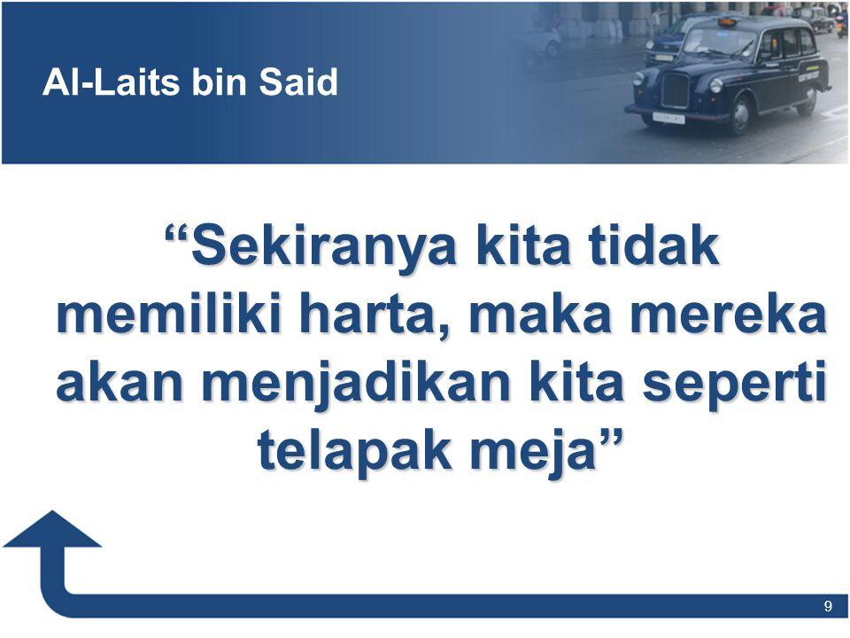 """Al-Laits bin Said """"Sekiranya kita tidak memiliki harta, maka mereka akan menjadikan kita seperti telapak meja"""" 9"""