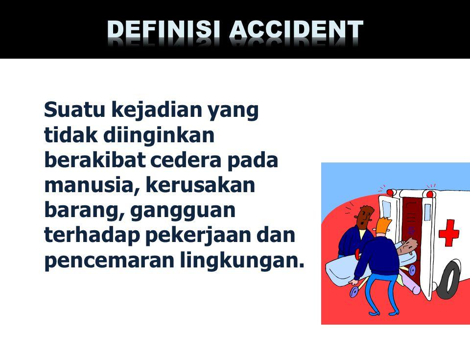 Suatu kejadian yang tidak diinginkan berakibat cedera pada manusia, kerusakan barang, gangguan terhadap pekerjaan dan pencemaran lingkungan.