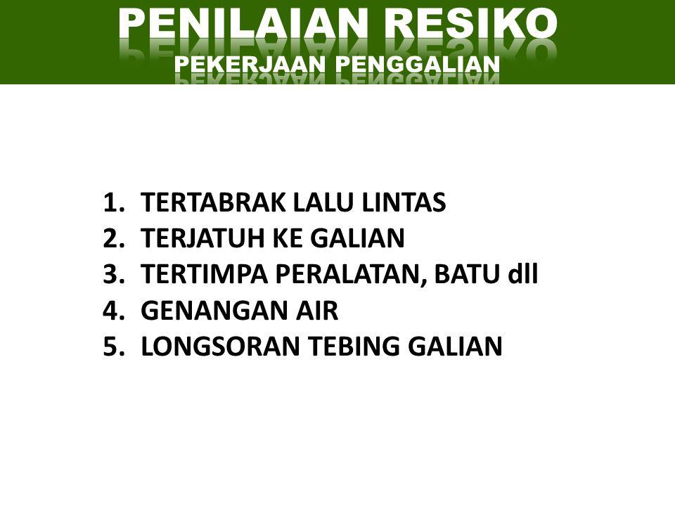 1.TERTABRAK LALU LINTAS 2.TERJATUH KE GALIAN 3.TERTIMPA PERALATAN, BATU dll 4.GENANGAN AIR 5.LONGSORAN TEBING GALIAN