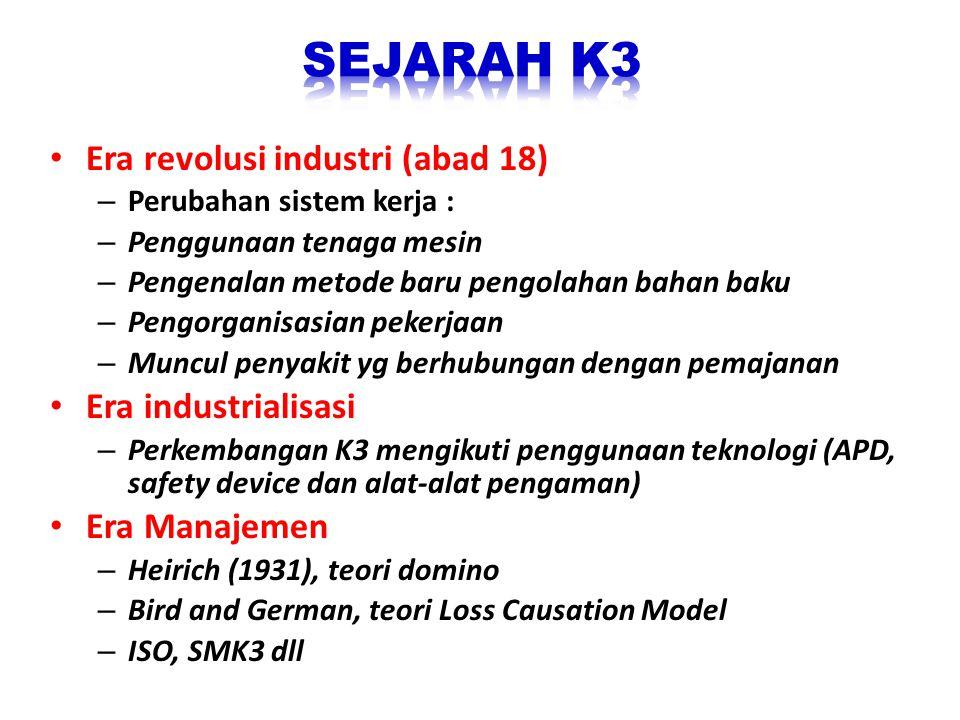 • Era revolusi industri (abad 18) – Perubahan sistem kerja : – Penggunaan tenaga mesin – Pengenalan metode baru pengolahan bahan baku – Pengorganisasi