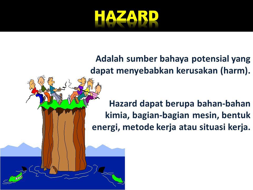Adalah sumber bahaya potensial yang dapat menyebabkan kerusakan (harm). Hazard dapat berupa bahan-bahan kimia, bagian-bagian mesin, bentuk energi, met
