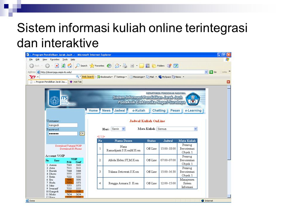 Sistem informasi kuliah online terintegrasi dan interaktive