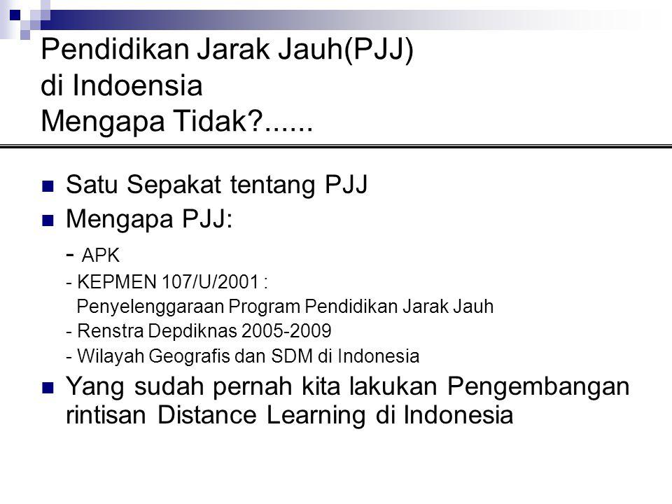 Pendidikan Jarak Jauh(PJJ) di Indoensia Mengapa Tidak?......  Satu Sepakat tentang PJJ  Mengapa PJJ: - APK - KEPMEN 107/U/2001 : Penyelenggaraan Pro