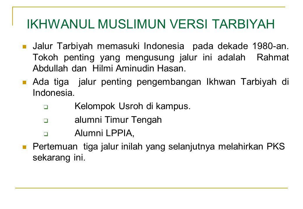 IKHWANUL MUSLIMUN VERSI TARBIYAH  Jalur Tarbiyah memasuki Indonesia pada dekade 1980-an. Tokoh penting yang mengusung jalur ini adalah Rahmat Abdulla