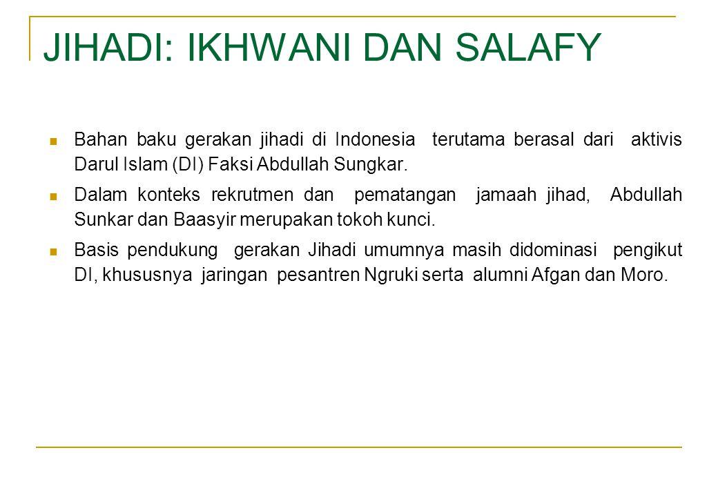 JIHADI: IKHWANI DAN SALAFY  Bahan baku gerakan jihadi di Indonesia terutama berasal dari aktivis Darul Islam (DI) Faksi Abdullah Sungkar.