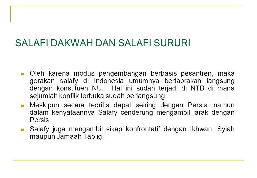  Oleh karena modus pengembangan berbasis pesantren, maka gerakan salafy di Indonesia umumnya bertabrakan langsung dengan konstituen NU. Hal ini sudah