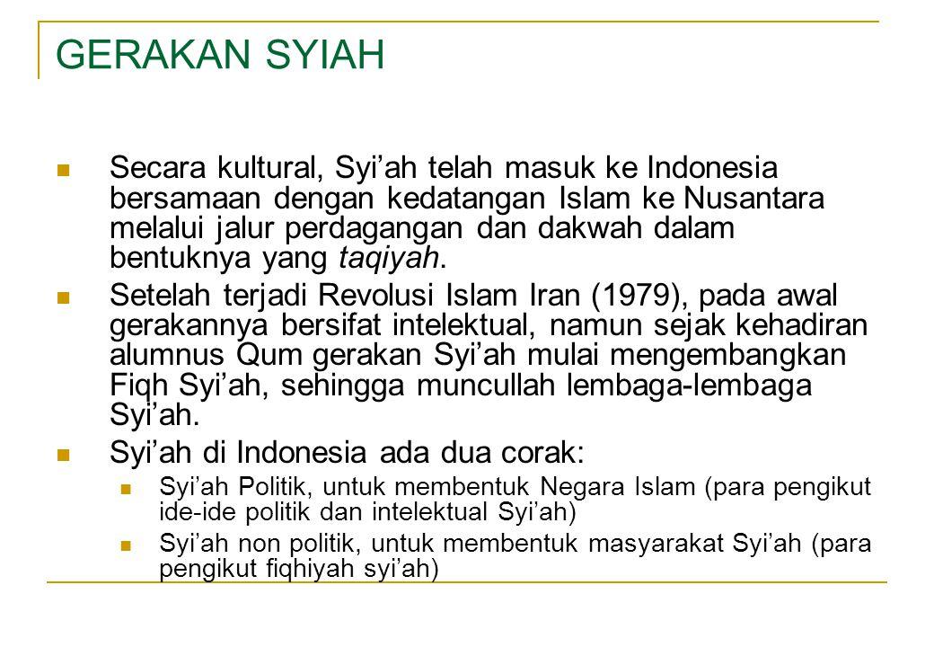  Secara kultural, Syi'ah telah masuk ke Indonesia bersamaan dengan kedatangan Islam ke Nusantara melalui jalur perdagangan dan dakwah dalam bentuknya yang taqiyah.