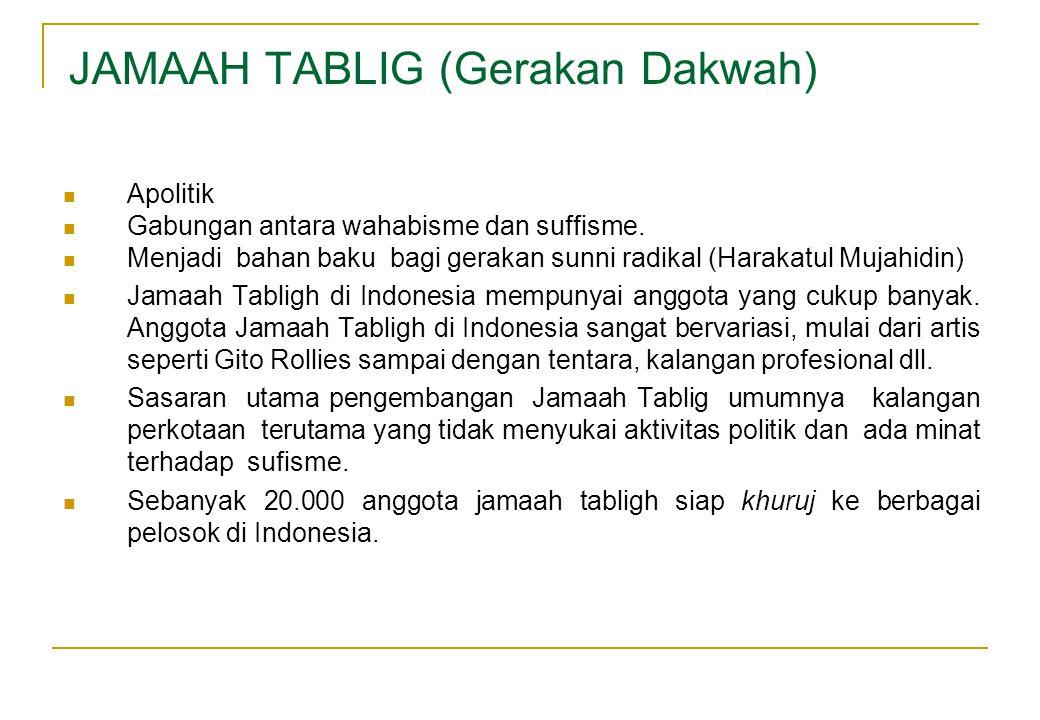 JAMAAH TABLIG (Gerakan Dakwah)  Apolitik  Gabungan antara wahabisme dan suffisme.