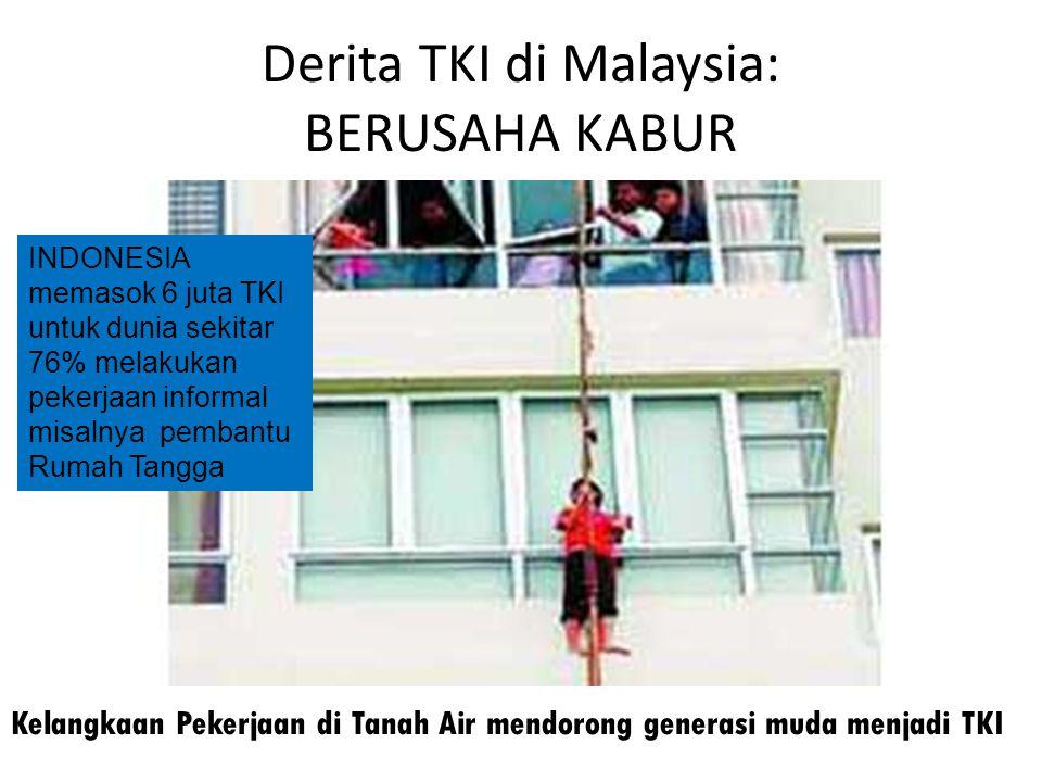 Derita TKI di Malaysia: BERUSAHA KABUR Kelangkaan Pekerjaan di Tanah Air mendorong generasi muda menjadi TKI INDONESIA memasok 6 juta TKI untuk dunia
