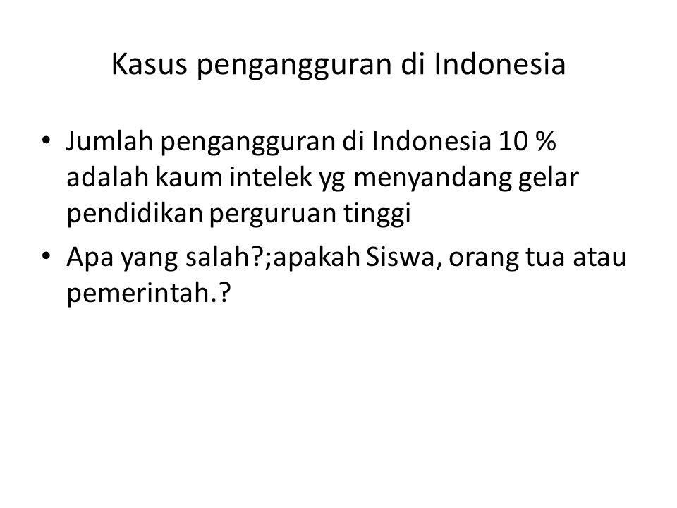 Kasus pengangguran di Indonesia • Jumlah pengangguran di Indonesia 10 % adalah kaum intelek yg menyandang gelar pendidikan perguruan tinggi • Apa yang