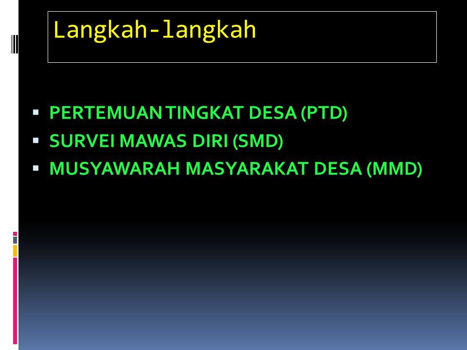 Langkah-langkah  PERTEMUAN TINGKAT DESA (PTD)  SURVEI MAWAS DIRI (SMD)  MUSYAWARAH MASYARAKAT DESA (MMD)