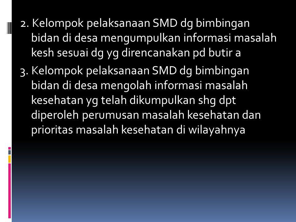 2. Kelompok pelaksanaan SMD dg bimbingan bidan di desa mengumpulkan informasi masalah kesh sesuai dg yg direncanakan pd butir a 3. Kelompok pelaksanaa