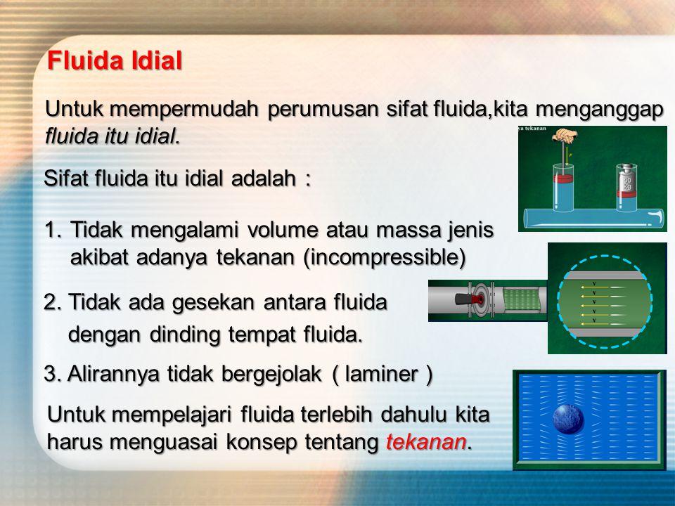 Sebenarnya fluida yang ada di sekitar kita adalah fluida yang tidak idial atau disebut juga dengan fluida sejati. Sifat fluida sejati adalah : 1.Volum