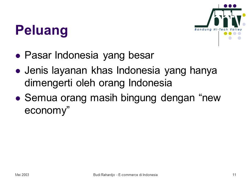 Mei 2003Budi Rahardjo - E-commerce di Indonesia11 Peluang  Pasar Indonesia yang besar  Jenis layanan khas Indonesia yang hanya dimengerti oleh orang Indonesia  Semua orang masih bingung dengan new economy