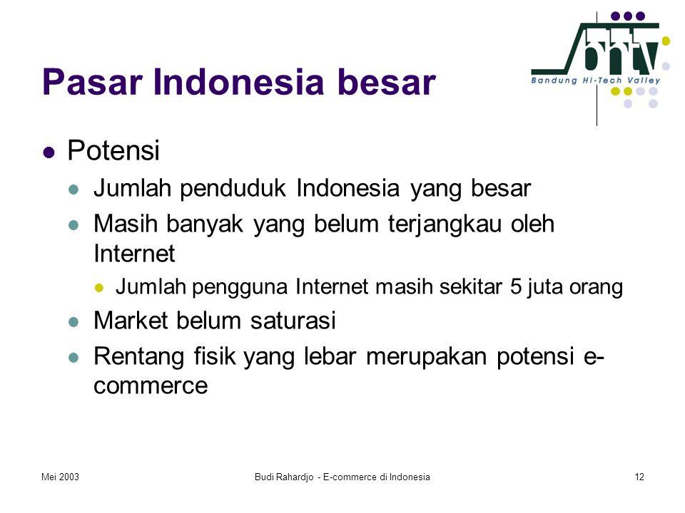 Mei 2003Budi Rahardjo - E-commerce di Indonesia12 Pasar Indonesia besar  Potensi  Jumlah penduduk Indonesia yang besar  Masih banyak yang belum terjangkau oleh Internet  Jumlah pengguna Internet masih sekitar 5 juta orang  Market belum saturasi  Rentang fisik yang lebar merupakan potensi e- commerce