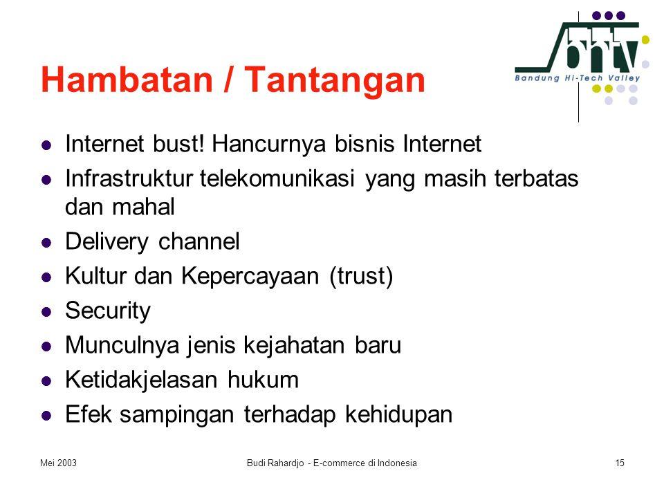 Mei 2003Budi Rahardjo - E-commerce di Indonesia15 Hambatan / Tantangan  Internet bust! Hancurnya bisnis Internet  Infrastruktur telekomunikasi yang