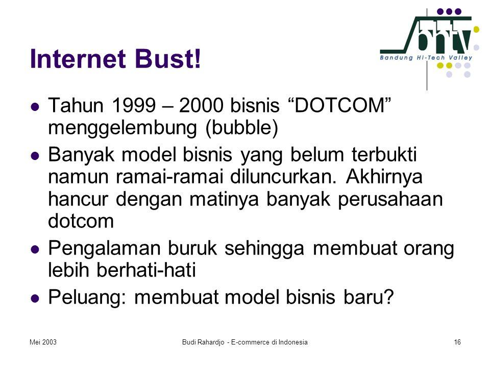 """Mei 2003Budi Rahardjo - E-commerce di Indonesia16 Internet Bust!  Tahun 1999 – 2000 bisnis """"DOTCOM"""" menggelembung (bubble)  Banyak model bisnis yang"""