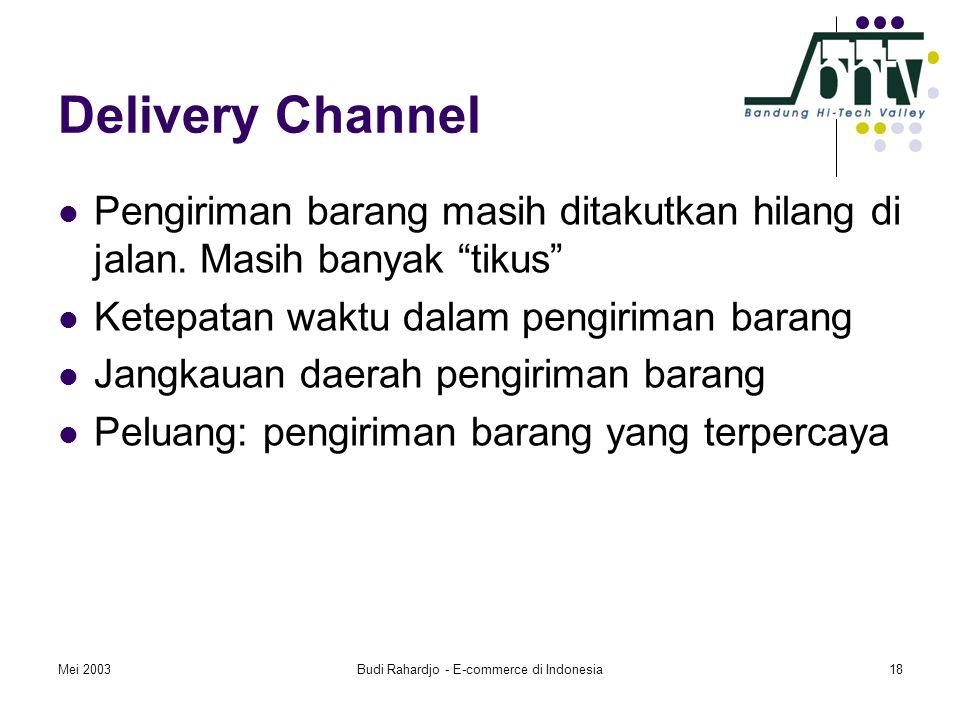 """Mei 2003Budi Rahardjo - E-commerce di Indonesia18 Delivery Channel  Pengiriman barang masih ditakutkan hilang di jalan. Masih banyak """"tikus""""  Ketepa"""