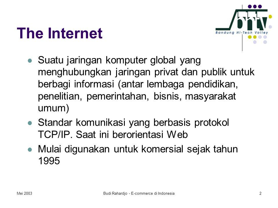 Mei 2003Budi Rahardjo - E-commerce di Indonesia2 The Internet  Suatu jaringan komputer global yang menghubungkan jaringan privat dan publik untuk berbagi informasi (antar lembaga pendidikan, penelitian, pemerintahan, bisnis, masyarakat umum)  Standar komunikasi yang berbasis protokol TCP/IP.