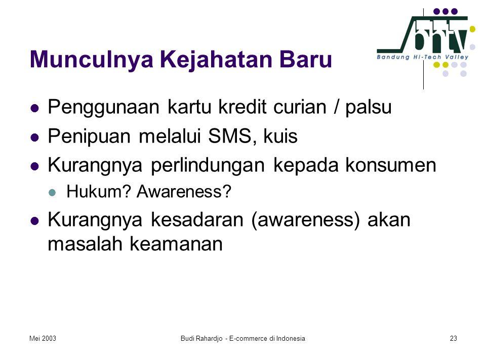 Mei 2003Budi Rahardjo - E-commerce di Indonesia23 Munculnya Kejahatan Baru  Penggunaan kartu kredit curian / palsu  Penipuan melalui SMS, kuis  Kurangnya perlindungan kepada konsumen  Hukum.