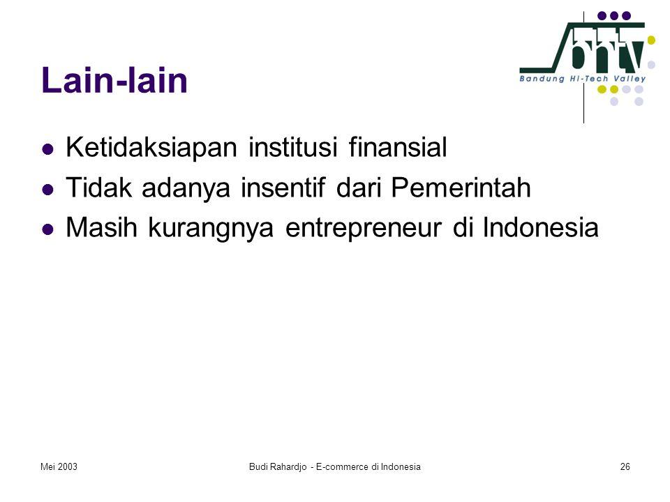 Mei 2003Budi Rahardjo - E-commerce di Indonesia26 Lain-lain  Ketidaksiapan institusi finansial  Tidak adanya insentif dari Pemerintah  Masih kurangnya entrepreneur di Indonesia