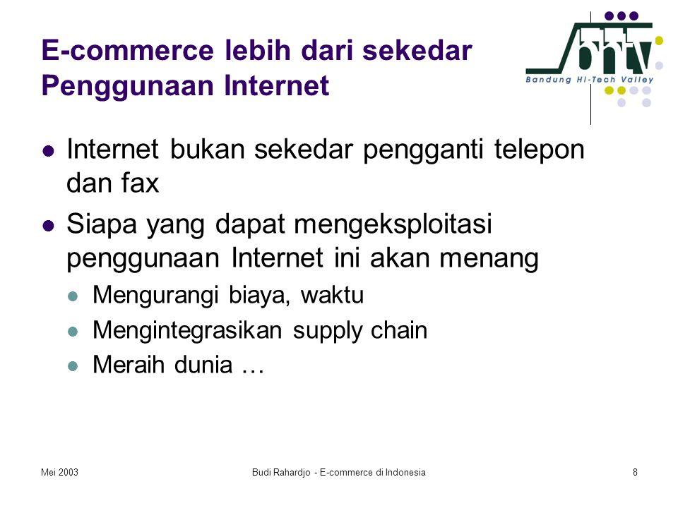 Mei 2003Budi Rahardjo - E-commerce di Indonesia8 E-commerce lebih dari sekedar Penggunaan Internet  Internet bukan sekedar pengganti telepon dan fax  Siapa yang dapat mengeksploitasi penggunaan Internet ini akan menang  Mengurangi biaya, waktu  Mengintegrasikan supply chain  Meraih dunia …