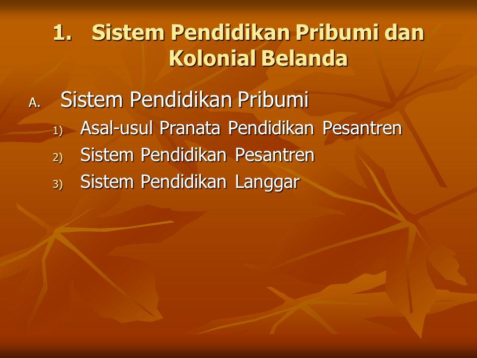 1.Sistem Pendidikan Pribumi dan Kolonial Belanda A. Sistem Pendidikan Pribumi 1) Asal-usul Pranata Pendidikan Pesantren 2) Sistem Pendidikan Pesantren