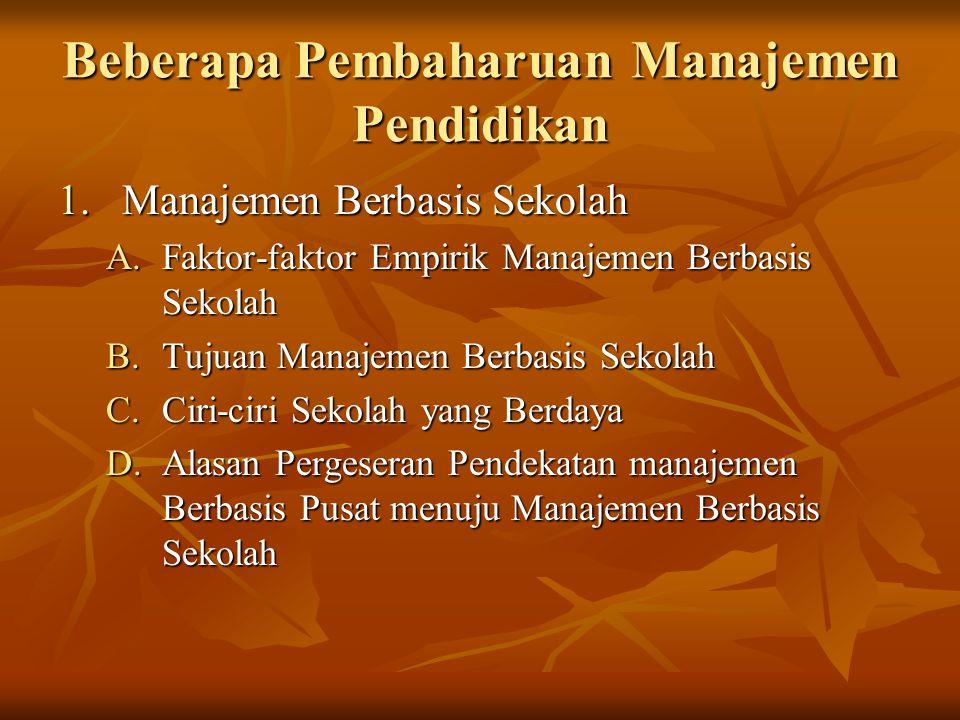 Beberapa Pembaharuan Manajemen Pendidikan 1.Manajemen Berbasis Sekolah A.Faktor-faktor Empirik Manajemen Berbasis Sekolah B.Tujuan Manajemen Berbasis