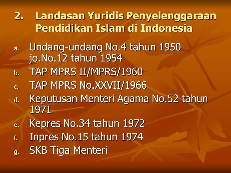 2.Landasan Yuridis Penyelenggaraan Pendidikan Islam di Indonesia a. Undang-undang No.4 tahun 1950 jo.No.12 tahun 1954 b. TAP MPRS II/MPRS/1960 c. TAP