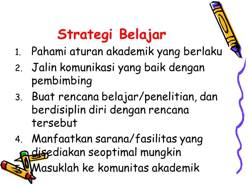 Strategi Belajar 1.Pahami aturan akademik yang berlaku 2.