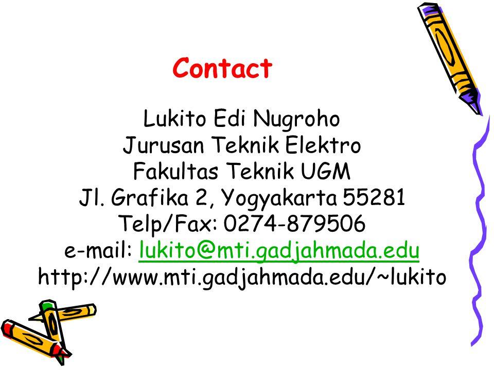 Contact Lukito Edi Nugroho Jurusan Teknik Elektro Fakultas Teknik UGM Jl.