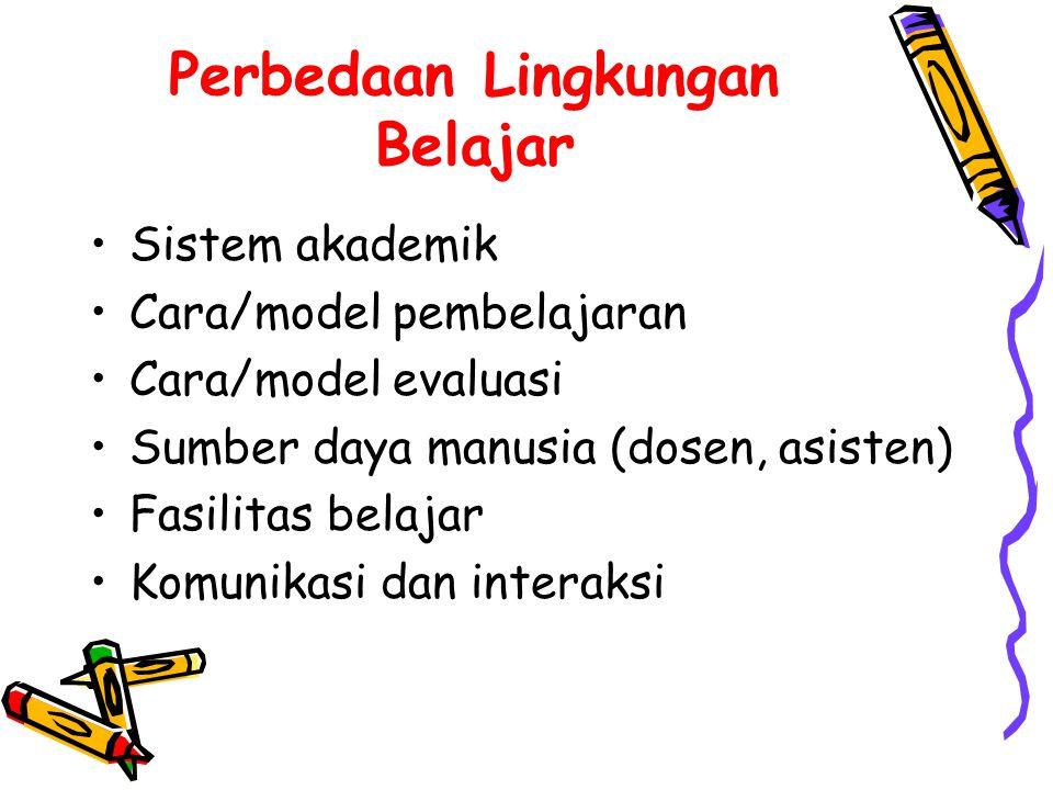 Perbedaan Lingkungan Belajar •Sistem akademik •Cara/model pembelajaran •Cara/model evaluasi •Sumber daya manusia (dosen, asisten) •Fasilitas belajar •Komunikasi dan interaksi