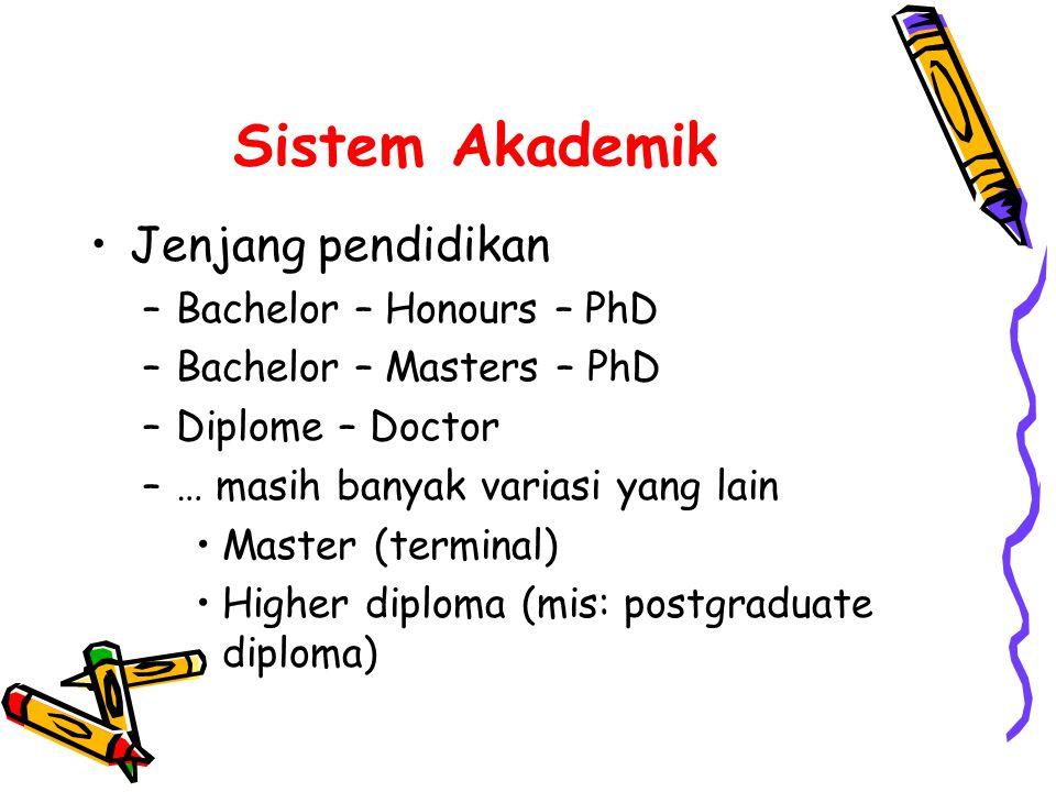 Sistem Akademik •Jenjang pendidikan –Bachelor – Honours – PhD –Bachelor – Masters – PhD –Diplome – Doctor –… masih banyak variasi yang lain •Master (terminal) •Higher diploma (mis: postgraduate diploma)