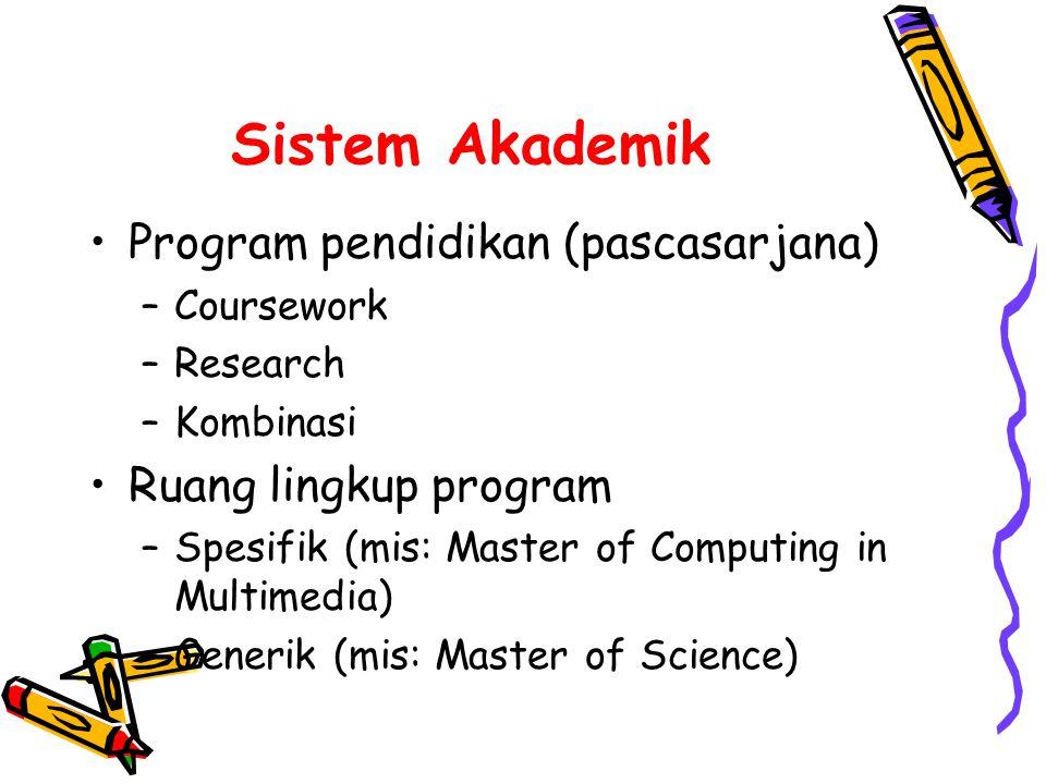 Sistem Akademik •Program pendidikan (pascasarjana) –Coursework –Research –Kombinasi •Ruang lingkup program –Spesifik (mis: Master of Computing in Multimedia) –Generik (mis: Master of Science)