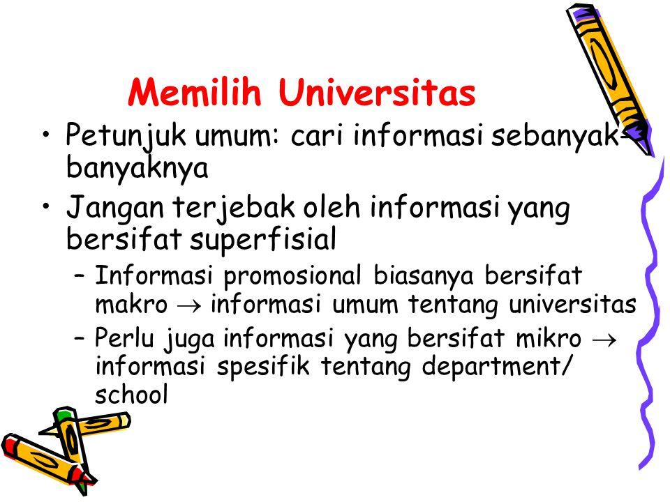 Memilih Universitas •Gunakan berbagai sumber informasi –Informasi promosional –Situs web universitas –Hasil-hasil survey dan review –Forum-forum akademis –Kontak personal