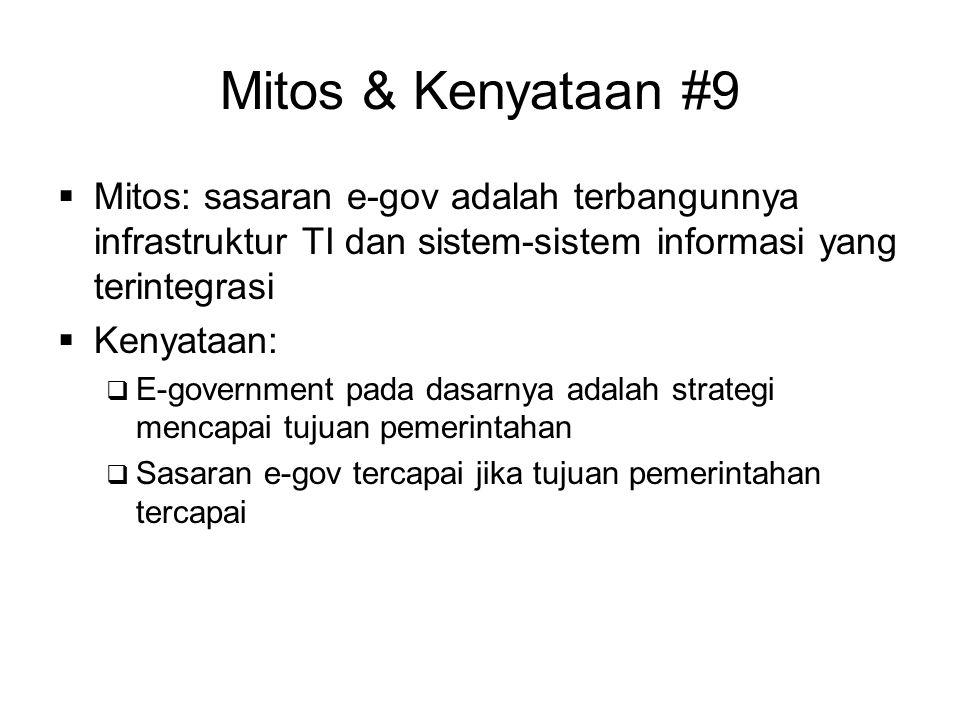 Mitos & Kenyataan #9  Mitos: sasaran e-gov adalah terbangunnya infrastruktur TI dan sistem-sistem informasi yang terintegrasi  Kenyataan:  E-govern