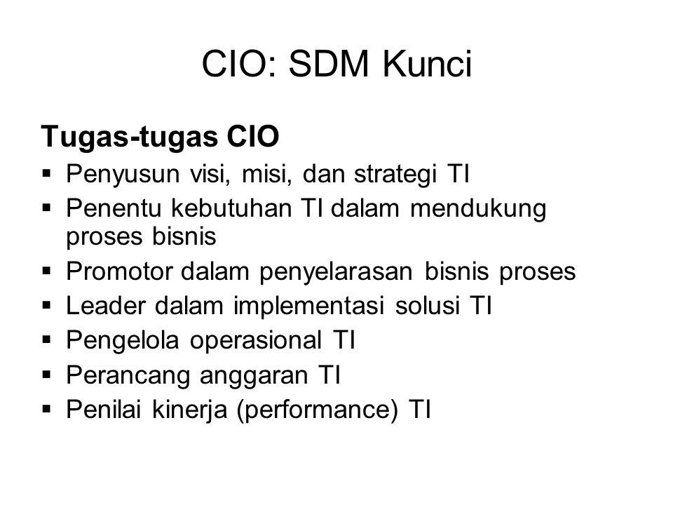 CIO: SDM Kunci Tugas-tugas CIO  Penyusun visi, misi, dan strategi TI  Penentu kebutuhan TI dalam mendukung proses bisnis  Promotor dalam penyelaras