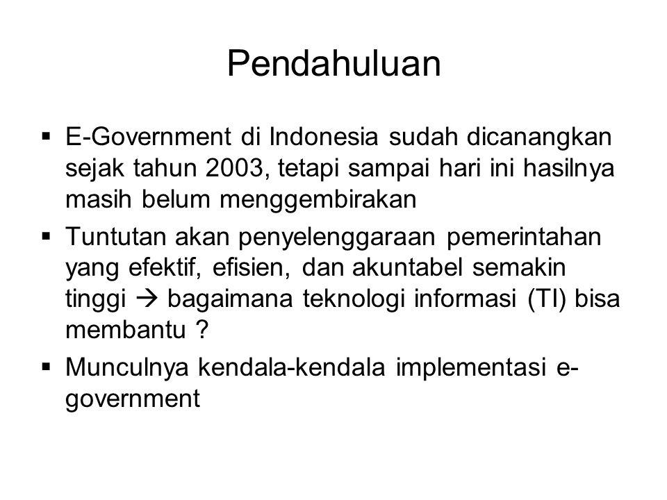 Pendahuluan  E-Government di Indonesia sudah dicanangkan sejak tahun 2003, tetapi sampai hari ini hasilnya masih belum menggembirakan  Tuntutan akan