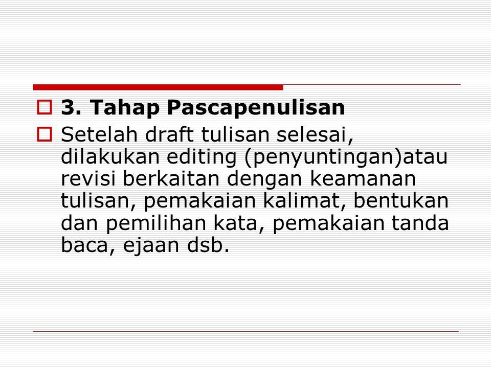  3. Tahap Pascapenulisan  Setelah draft tulisan selesai, dilakukan editing (penyuntingan)atau revisi berkaitan dengan keamanan tulisan, pemakaian ka
