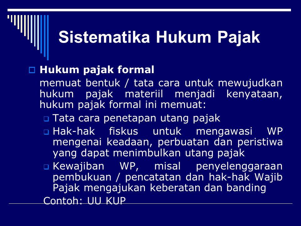 Sistematika Hukum Pajak  Hukum pajak materiil Memuat norma-norma yang menerangkan keadaan, perbuatan, peristiwa hukum yang dikenakan pajak (objek-obj