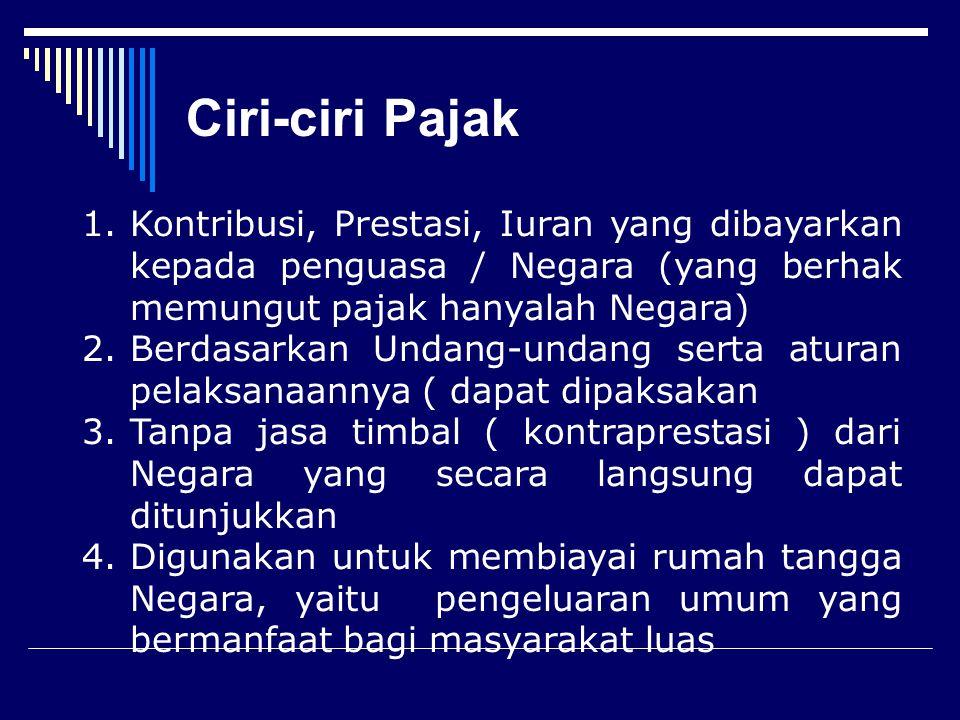 Definisi Pajak  Menurut Prof. Dr. Rochmat Soemitro, S.H.: iuran rakyat kepada kas negara berdasarkan undang-undang (yang dapat dipaksakan) dengan tid