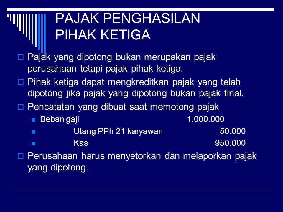 PAJAK PENGHASILAN PIHAK KETIGA  Atas pembayaran yang dilakukan kepada pihak ketiga, jika jumlah yang dibayarkan merupakan penghasilan kepada pihak la
