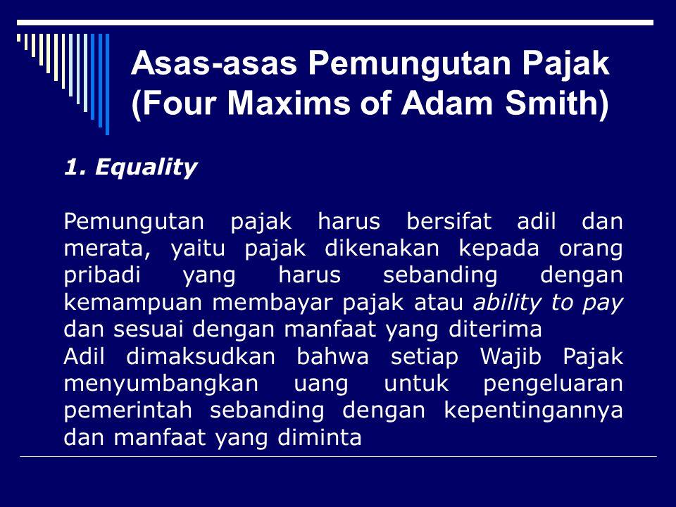 Azas pajak  Equity : Adil  Economic : Efisien  Convinience : Mudah  Certainty : ada kepastian hukum