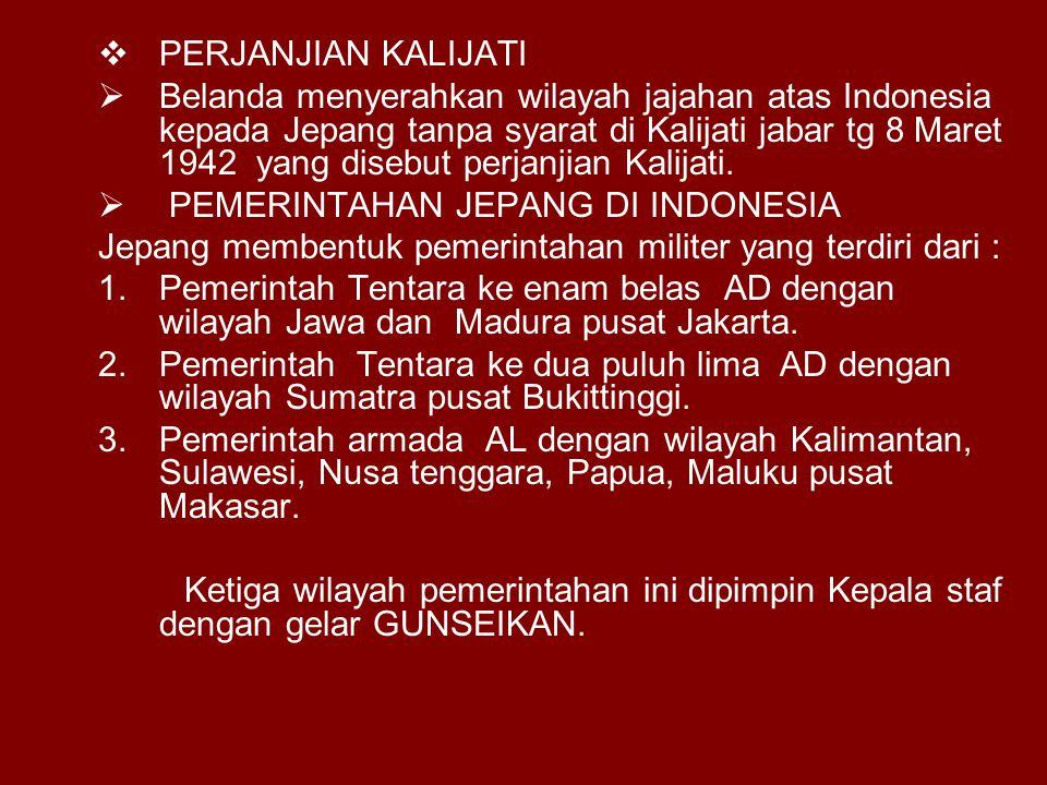PPERJANJIAN KALIJATI BBelanda menyerahkan wilayah jajahan atas Indonesia kepada Jepang tanpa syarat di Kalijati jabar tg 8 Maret 1942 yang disebut