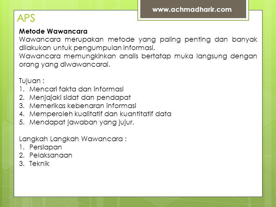 APS www.achmadharir.com Metode Wawancara Wawancara merupakan metode yang paling penting dan banyak dilakukan untuk pengumpulan informasi.