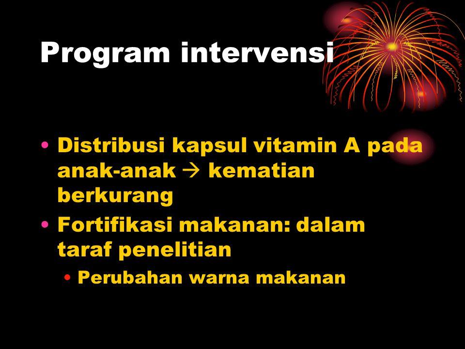 Program intervensi •Distribusi kapsul vitamin A pada anak-anak  kematian berkurang •Fortifikasi makanan: dalam taraf penelitian •Perubahan warna maka