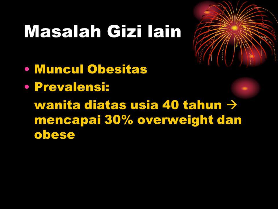 Masalah Gizi lain •Muncul Obesitas •Prevalensi: wanita diatas usia 40 tahun  mencapai 30% overweight dan obese