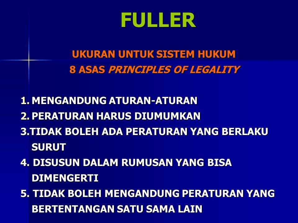 FULLER FULLER UKURAN UNTUK SISTEM HUKUM 8 ASAS PRINCIPLES OF LEGALITY 1.MENGANDUNG ATURAN-ATURAN 2.PERATURAN HARUS DIUMUMKAN 3.TIDAK BOLEH ADA PERATURAN YANG BERLAKU SURUT 4.