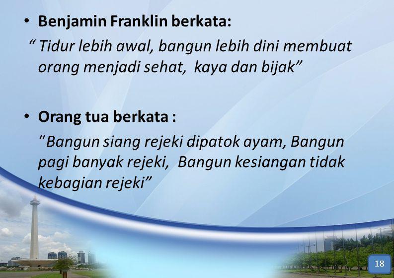 """• Benjamin Franklin berkata: """" Tidur lebih awal, bangun lebih dini membuat orang menjadi sehat, kaya dan bijak"""" • Orang tua berkata : """"Bangun siang re"""